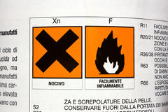 Toxic and flammable. Label on the bottle of product toxic and flammable Royalty Free Stock Photo