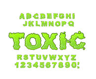 Toxic font. Green liquid ABC. Acid typography. Radiation alphabe stock illustration