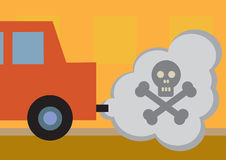 Toxic Fumes. A cars toxic exhaust fumes, symbolized by a skull and cross bones Royalty Free Stock Photos