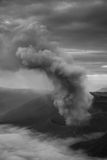 The toxic fumes. Biow out from the volcanic crater in Indonesia royalty free stock images