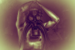 Toxic, gas mask, Male model, evil, blind, fallen angel of death Stock Photo