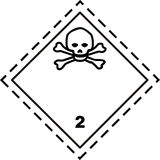 Toxic gas - Safety placard. A safety placard of toxic gas class 2.3 ADR IMDG IATA Stock Image