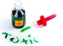 Toxic in green liquid with lab dropper. Spilt green liquid making the word toxic with the bottle, labelled toxic and with a standard skull and cross bones label Stock Images