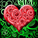 Toxic Heart. Elegant Red Matte Glass Heart Symbol over Abstract Toxic Green Industrial Background Stock Images