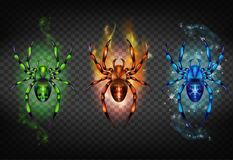 Free Toxic, Igniting And Freezing Spiders Vector Set Royalty Free Stock Image - 139273076
