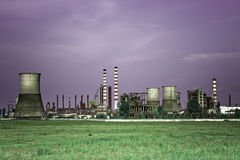 Toxic industry - industrial oil refinery stock photo