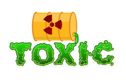 Toxic lettring. Liquid green letters and barrel of poison waste. Stock Image