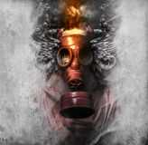 Toxic. A man in a gas mask in the smoke. artistic background Stock Images