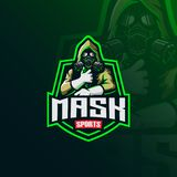 Toxic masker mascot logo design vector with modern illustration concept style for badge, emblem and tshirt printing. mask. Illustration with toxic in hand stock illustration