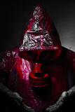 Toxic military concept, man with red gas mask. Stock Images