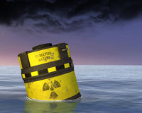 Toxic Nuclear Waste Radioactive Material Illustration. Toxic nuclear waste material is pollution in the sea or ocean stock photos