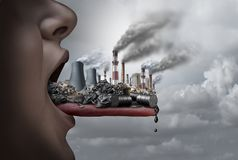 Toxic Pollution Inside The Human Body. Toxic pollutants inside the human body and eating pollutants as an open mouth ingesting industrial toxins with 3D Royalty Free Stock Image