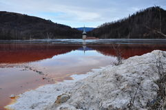Toxic red lake, waste residuals Stock Photography