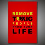 Toxic Relationships Poster. Editable vector illustration in green, red and black color. Communication, psychology and people behavior concept useful for royalty free illustration