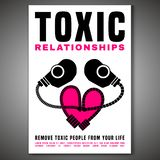 Toxic Relationships Posster. Toxic relationships vertical poster. Editable isolated vector illustration in pink, black color on white background. Communication royalty free illustration