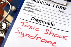 Toxic shock syndrome. Medical form with diagnosis Toxic shock syndrome royalty free stock photo