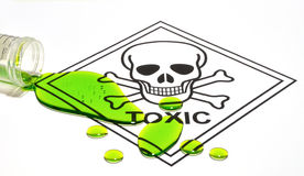 Toxic Sign & Spill. Conceptualization of a toxic hazard Royalty Free Stock Photo