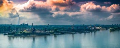 Toxic smoke over city. Ruse city, Bulgaria stock photos