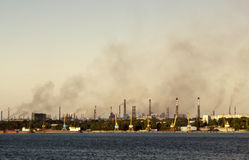 Toxic smoke over the town. Global ecology problem stock images