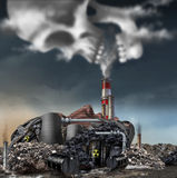 Toxic Smoke. Symbol as a dirty industrial factory with garbage smoke stacks and a nuclear power plant shaped as a human face polluting the environment with Stock Photo