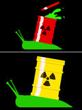 Toxic snail with radioactive barrel Royalty Free Stock Image