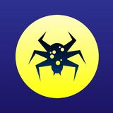 Toxic spider icon halloween concept. Silhouette flat symbol.  Stock Images