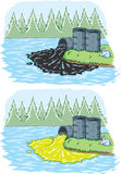Toxic spill. Two drawings depicting an oil spill and a chemical spill royalty free illustration