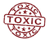 Toxic Stamp Shows Poisonous And Noxious Substance. Toxic Stamp Shows Poisonous Lethal And Noxious Substance Stock Image