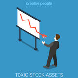Toxic stock market assets exchange graphic flat isometric vector 3d. Toxic stock market assets flat 3d isometry isometric exchange concept web vector Stock Photography