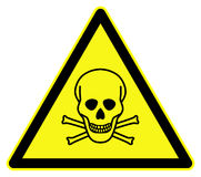 Toxic symbol. Toxic risk symbol. Yellow triangle isolated against white Royalty Free Stock Photography