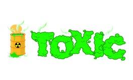 Toxic text. Poisonous green fumes. Open barrel with hazardous li Royalty Free Stock Images