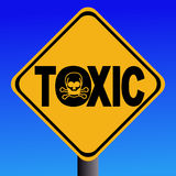 Toxic text sign with skull Stock Image