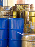 Toxic waste. Barrels liking to the ground royalty free stock photo