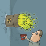 Toxic Waste Accident. A cartoon man discovers that his bucket is too small to handle a toxic waste leak Stock Photos
