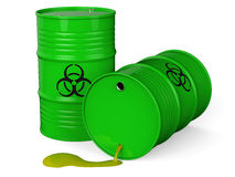 Toxic waste barrel. Spilled green barrels with toxic waste isolated on white background 3D rendering Stock Photo
