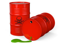 Toxic waste barrel. Spilled red barrels with toxic waste  on white background 3D rendering Royalty Free Stock Photography