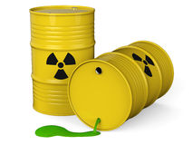 Toxic waste barrel. Spilled yellow barrels with toxic waste  on white background 3D rendering Royalty Free Stock Photos