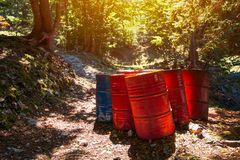 Toxic waste barrels in the forest Royalty Free Stock Images