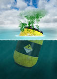 Toxic Waste, Chemical, Water Pollution. Illustration of a barrel of radioactive material, nuclear waste, and toxic chemicals polluting the sea or ocean. Man is Royalty Free Stock Photography