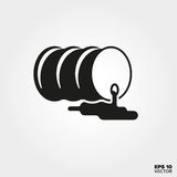 Toxic waste Icon. Leaking oil barrel Symbol. EPS 10 Vector Stock Image