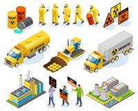 Toxic Waste Isometric Icons royalty free illustration