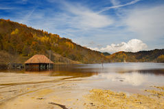 Toxic waste near Rosia Montana. Artificial lake formed in Geamana Village, Alba county, Romania, for depositing the toxic waste from a mine operation near Rosia Stock Image