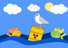 Toxic waste in the ocean and the afraid fish. Cartoon illustration Royalty Free Stock Photo