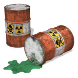 Toxic Waste Spill. 3D illustration of toxic waste spilling from an overturned drum Stock Photos