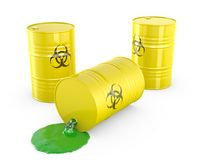 Toxic waste spilling from barrel. On white background vector illustration
