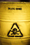 Toxic waste. Symbol on a yellow barrel royalty free stock image