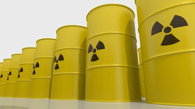 Toxic waste. Yellows barrels containing radioactive material Royalty Free Stock Images