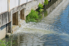 Toxic water running from sewers allow to drain into the canal.  Stock Image