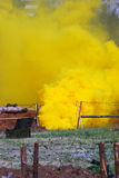 Toxic yellow fume on the battle field. Royalty Free Stock Image