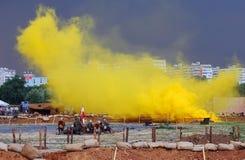 Toxic yellow fume. Osovets battle reenactment Royalty Free Stock Image